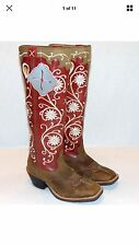 """womens cowgirl boots size 7  17"""" Tall Twisted X Red/Brown"""