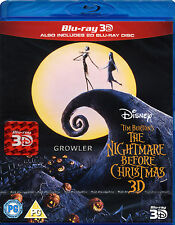 NIGHTMARE BEFORE CHRISTMAS BLU-RAY 3D - WALT DISNEY FILM TIM BURTON GHOST MOVIE