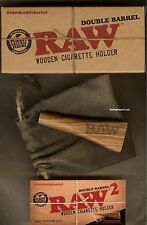KING SIZE RAW Wooden DOUBLE BARREL+Storage Pouch - SMOKE 2 Cones/Cigarettes Now