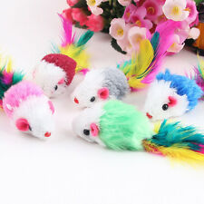 10Pcs/lot Soft Fleece False Mouse Cat Toys Colorful Feather Funny Playing Toys