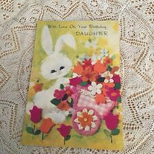 Vintage Greeting Card Birthday Bunny Rabbit Flowers Cart Neon