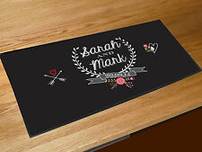 Personalised Wedding floral style bar runner home bar counter mat