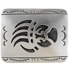 Longmire Style Sterling Silver Overlay Bear Paw Native American Belt Buckle