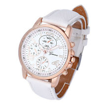 New Fashion Womens Ladies Watches Geneva Faux Leather Analog Quartz Wrist Watch