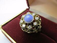 Vintage 14k Solid Yellow Gold Diamond And Blue Star Sapphire Ring Sz 6.75