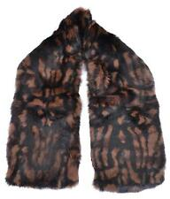 NEW BURBERRY $995 DARK CAMEL & BLACK PRINTED RABBIT FUR SCARF STOLE