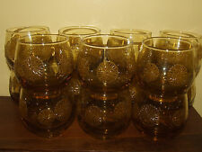 LIBBEY AMBER GOLD DAISY 9 OZ ROLLY POLLY GLASSES SET OF 15 EUC