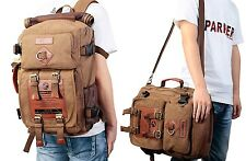 Unisex Canvas Backpack Rucksack Camping Hiking Shoulder Bag Laptop Bags Satchel