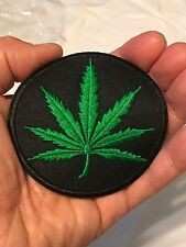 Cannabis Weed Marijuana Pot Hemp Leaf Embroidered Iron-On Round Patch 402