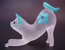 Glass CAT, KITTEN, Blue & White Frosted Glass Ornament Blown Glass Animal Figure