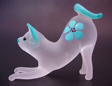 Glass CAT KITTEN Blue & White Frosted Glass Ornament Blown Glass Animal Figure