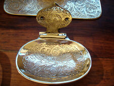 Moroccan brass hand engraved heavy  oval soap dish  porte savon