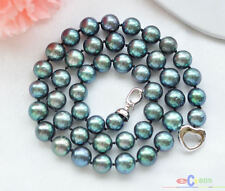 """P3779 AAA++ 17"""" 10mm ROUND PEACOCK BLACK FRESHWATER PEARL NECKLACE"""
