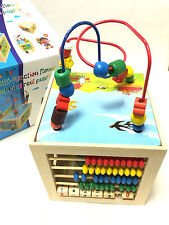 Kids Children Multi Function Colourful Wooden Activity Cube 5 in 1 Puzzle Clock