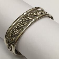 TC-105 TAXCO MEXICO .925 STERLING SILVER HEAVY BRAIDED ROPE BRACELET 6 1/4""