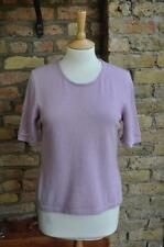 Marks & Spencer 100% Cashmere Size UK 12/14 lilac crew neck short sleeve jumper