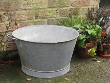 Vintage Industrial Old Small Galvanised Metal Tub Garden Planter Pot. #4530