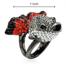 STEVE MADDEN GUN METAL CRYSTALS FISH COCKTAIL RING SIZE M