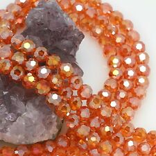 72 pcs 8mm Chinese Crystal Glass Loose Beads Round Faceted Orange Red with AB