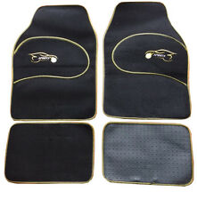 VW Golf MK1-5, Lupo, Eos Universal YELLOW Trim Black Carpet Cloth Car 4 Mat Set