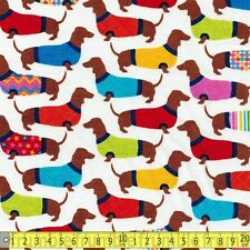 Timeless Treasures Fabric Dachshunds in Sweaters White PER METRE Sausage Dog Pup