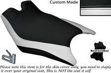 DESIGN 2 WHITE & BLACK CUSTOM FITS KTM RC8 R 1190 FRONT LEATHER SEAT COVER