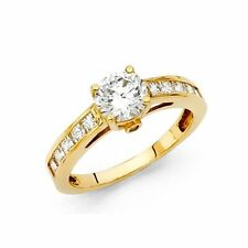 Solid 14k Yellow Gold Ladies Solitaire Man Made Diamond Engagement Ring