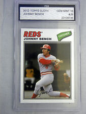 2012 Topps Cloth #JB JOHNNY BENCH FGS 10 Gem Mint Cincinnati Reds