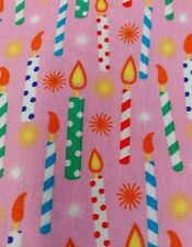"""Novelty Birthday candle's cotton poplin fabric sold by the metre 60"""" wide"""