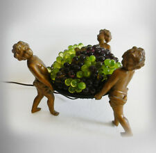 Vintage French lamp with cherubs and grapes art glass shade -  FREE SHIP