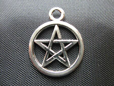 100 Pentagram Charms -Tibetan Silver Pagan,Celtic,Wicca,Gothic - FAST FREE POST