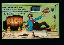 Comic BEER drinking romance c1900s PPC