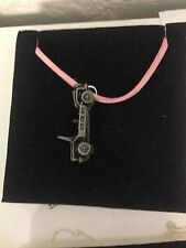 Mini Moke ref146 Pewter Effect Car on a Pink Cord Necklace Handmade 41CM