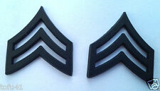 1 PAIR (2) ARMY RANK E5 SGT (SUBDUED) Military Veteran Hat/Collar Pins P14887 EE