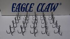 EAGLE CLAW 2X-STRONG SHORT SHANK TREBLE HOOKS-PLATINUM BLACK-(25 PACK)-SIZE 5