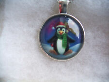Cute Penguin Santa Hat Photo Glass Cabochon Tibet Silver Chain Pendant Necklace