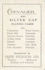 Chevalier silver cat Paper Products Australia advertising playing card swap card