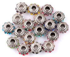 10pcs Mix silver CZ big hole spacer beads fit Charm European Bracelet DIY HH914