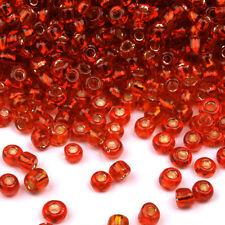 rocaille glass seed beads 2mm Hole Silver Red 20g (12/0)