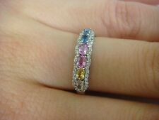EXQUISITE MULTI-COLOR SAPPHIRES SURROUND BY DIAMONDS LADIES BAND-RING, SIZE 6.5