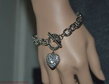 G By Guess Silver-Tone Shiny Rhinestone Heart Toggle Chain Bracelet NWT Gift Ide