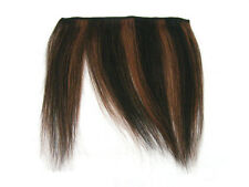 CLIP-IN HUMAN HAIR FRINGE BANGS #1B #33 OFF BLACK DARK AUBURN STRIPE UNCUT 8""