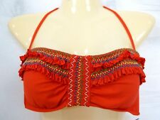 Lucky Brand Size L Large Red Ruffle Bandeau Halter New Womens Bikini Top