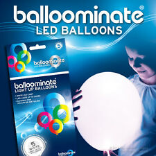 Balloominate WHITE light up balloons - 5 Pack - All Occasions