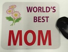 Mouse Pad Custom Printed World's Best Mom Logo Advertisement Tick New