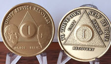 1 Year AA Founders & Anniversary Medallion Chip Set Alcoholics Anonymous Bronze