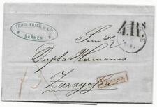 Prusia carta desde 1861 de la familia Frick de Barmen a Xirivella 07.05.1861!