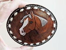 TOOLED LEATHER HORSE BELT BUCKLE made by Rocking D saddle company NEVER USED