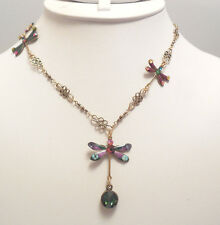 NWT ANNE KOPLIK DANCING DRAGONFLIES FANCY CHAIN SWAROVSKI CRYSTAL NECKLACE