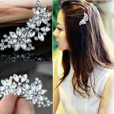 Chic Bridal Jewelry Rhinestone Crystal Wedding Flower Hair Clip Headwear Hairpin